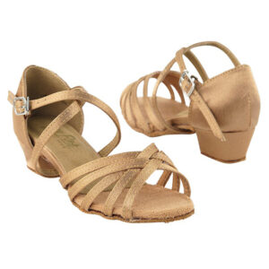 1670CG Brown Satin Kids Girls Dance Shoes