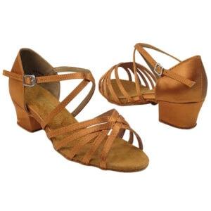 1670CG Dark Tan Satin Kids Girls Dance Shoes