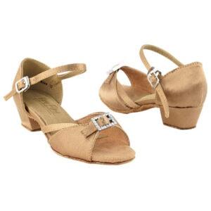 1720G Brown Satin Kids Girls Dance Shoes