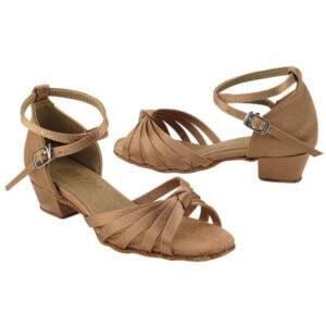 6005G Brown Satin Kids Girls Dance Shoes