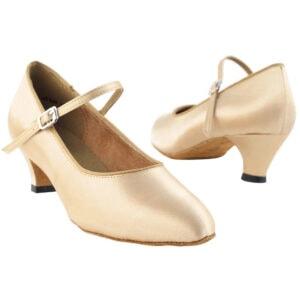 3008 Light Brown Satin and Cuban Heel Women's Ballroom Dance Shoes